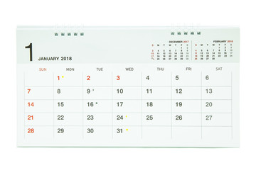 Calendar of January 2018 background