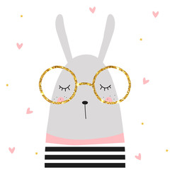 Cute bunny and golden glitter glasses. Vector hand drawn illustration.