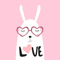 Cute white bunny. Valentines day greeting card. Vector hand drawn illustration.