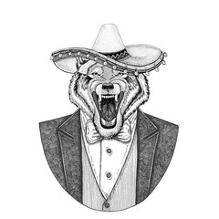 Wolf Dog Wild animal wearing Sombrero - traditional mexican hat Hand drawn illustration for tattoo, emblem, logo, badge, patch, t-shirt