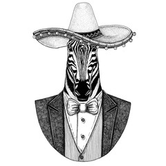 Zebra Horse Wild animal wearing Sombrero - traditional mexican hat Hand drawn illustration for tattoo, emblem, logo, badge, patch, t-shirt