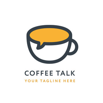 Coffee House Talk Story Conversation Shop Logo Design Template Cup Mug Message. Creative Concept Isolated Vector