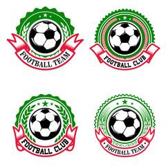 Set of colorful football club emblems. Soccer club. Design element for logo, label, emblem, sign.