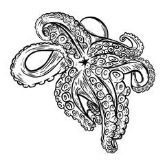 Hand drawn octopus illustration. Seafood. Design element for logo, label, emblem, sign, poster, banner.