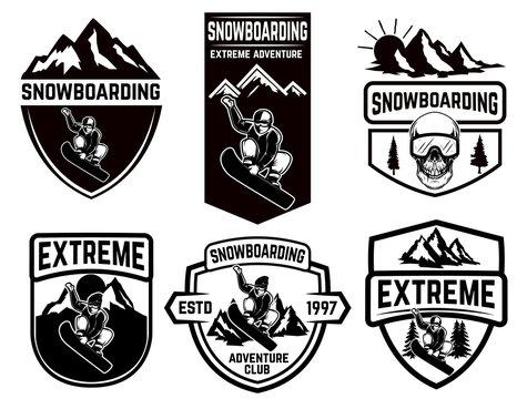 Set of snowboarding club emblems. Design element for logo, label, emblem, sign.