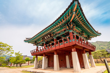 Nangminnu pavilion of Naganeupseong Folk Village in Suncheon, A Traditional Hanok Village in South Korea.