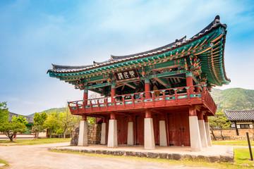 Nangminnu pavilion of Naganeupseong Folk Village in Suncheon, A Traditional Hanok Village in South Korea.