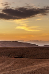 Vertical photo colorful landscape view on sunrise in middle east