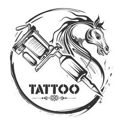 Tattoo art design of horse line art style