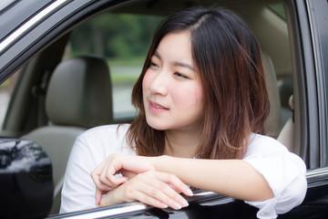 thai adult working women white shirt in car