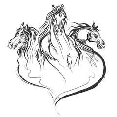 Tattoo art design of horse racing in line art