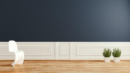 Empty room, Dark wall modern room on floor wooden comtemporary style .3D rendering