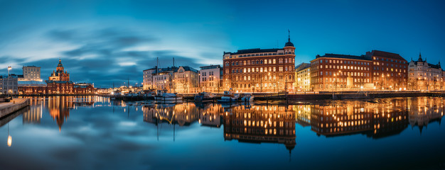 Helsinki, Finland. Panoramic View Of Kanavaranta Street With Uspenski