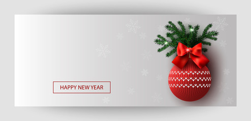 Horizontal gift gold design background red ball and bow for invitation, voucher. For a banner, postcards. flyer, label, certificate, company card. Merry New Year and Happy Christmas. Vector.