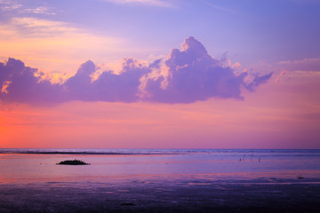 World environment day concept: Sea autumn sunset background