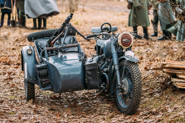 Old Tricar, Three-Wheeled Motorbike With Machine Gun On Sidecar