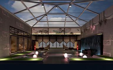 3d render of luxury resort hotel lobby