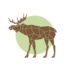 Polygonal abstract elk. Wild animal. Side view. Vector illustration.