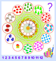 Logic exercise for young children. Need to count the quantity of objects  and write the corresponding numbers in circles. Vector cartoon image.