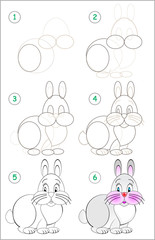 Page shows how to learn step by step to draw a funny rabbit. Developing children skills for drawing and coloring. Vector image.