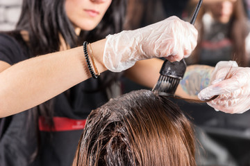 Attractive brunette hairdresser thoroughly dyeing hair of female client