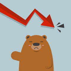 cute big brown bear in stock market red graph going down arrow.