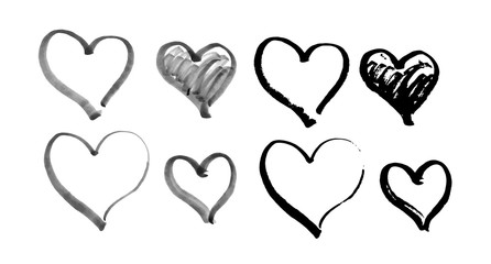 Set of hand drawn hearts. Vector illustration