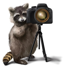 Raccoon-photographer watercolor painting