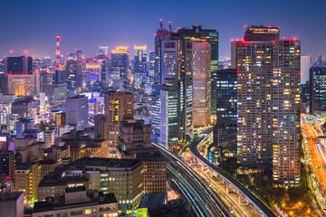 Photo on textile frame Tokyo Night skyline of Tokyo, Japan