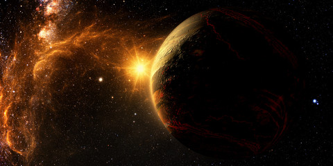 Wall Mural - Exoplanet Exploration - Fantasy and Surreal Landscape. 3D Rendered.