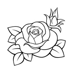 Vector black and white contour drawing of a rose.