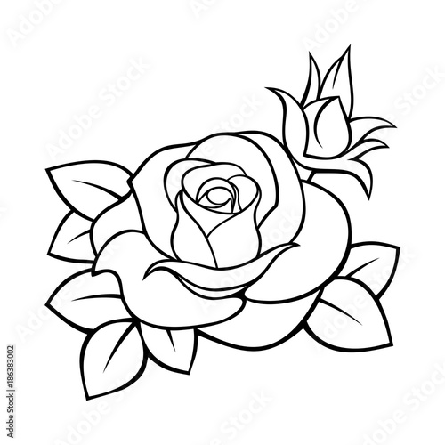Vector Black And White Contour Drawing Of A Rose Stockfotos Und