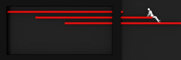 Website-Header/Banner in schwarz-rot, mit Balken und Kasten auf denen eine Marionetten-Figur sitzt.