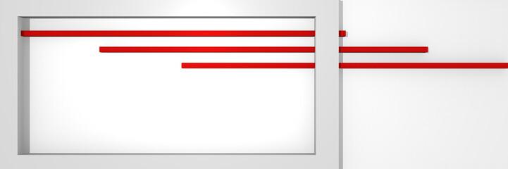Website-Header in 3d, mit Kastenform und Streifen in rot-weiß.