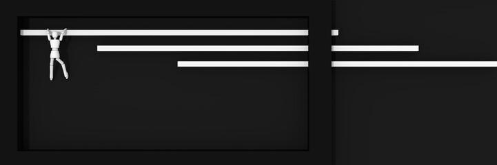 Website-Header/Banner in schwarz-weiß, mit Balken an denen sich eine Marionetten-Figur hochzieht.