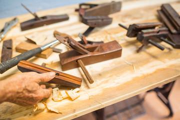 Wood carpenter working timb furniture