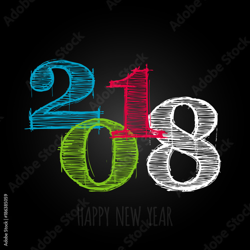 vector modern minimalistic happy new year card for 2018 with main big numbers dark version