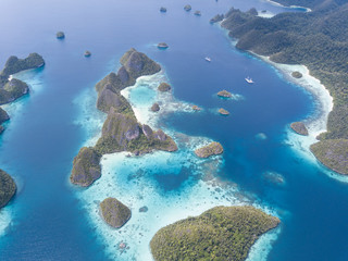 Aerial of Rock Islands of Wayag, Raja Ampat