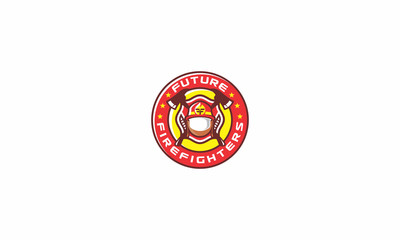 firefighters, water, houses, hoses, axes, emblem symbol icon vector logo