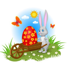 rabit garden wooden cart lucky painted huge egg smile greeting card easter cartoon style landscape grass flowers butterfly