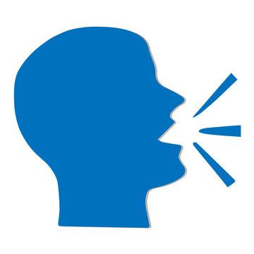 Head of man speaking vector silhouette