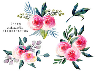 Watercolor red roses and green leaves bouquets set, hand drawn isolated on a white background
