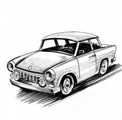 East German retro car sketch