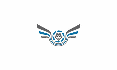 wolf, dog, wings, photography, emblem symbol icon vector logo