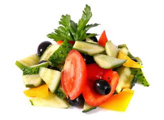 Salad of fresh cucumbers, tomatoes and sweet pepper