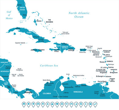The Caribbean Map - Vector Illustration