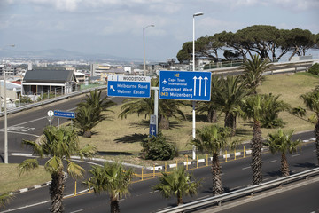 Blue road signs on Nelson Mandela Blvd Cape Town South Africa. December 2017