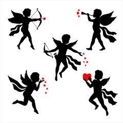 Valentine's Day Cupid, Cute Cupids and amour angels with hearts, Cupid with arrow, Cupid with bows, wings, feathers. Silhouette set for Happy Valentines day decorations, separated editable elements.