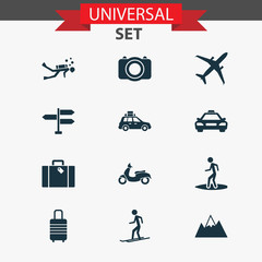 Exploration icons set with mount, pickup, scuba and other mount 