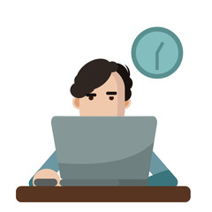 Vector illustration of a man using a laptop